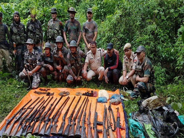 Arms and ammunition recovered in a joint operation of army and police. (Photo/ANI)
