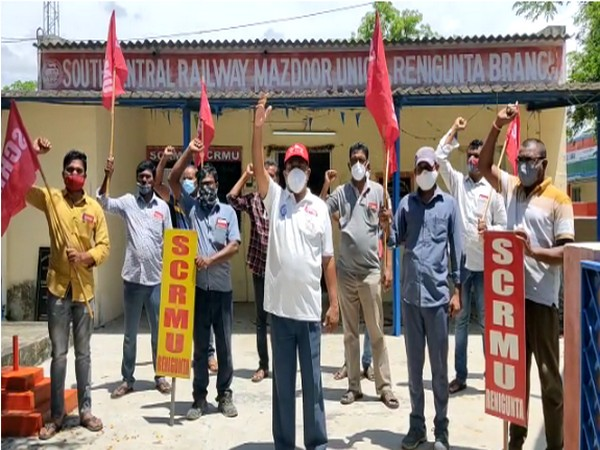 Railway employees demanding to be treated as frontline workers. (Photo/ANI)