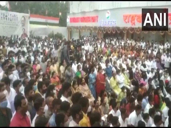 Crowds gather at the innauguration of the NCP office in Pune. (Photo/ANI)