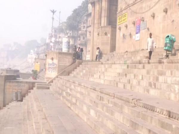 A visual from Munshi ghat in Varanasi on Holi.