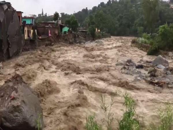 A visual of the flash floods in Dharamshala, Himachal Pradesh (Photo/ANI)