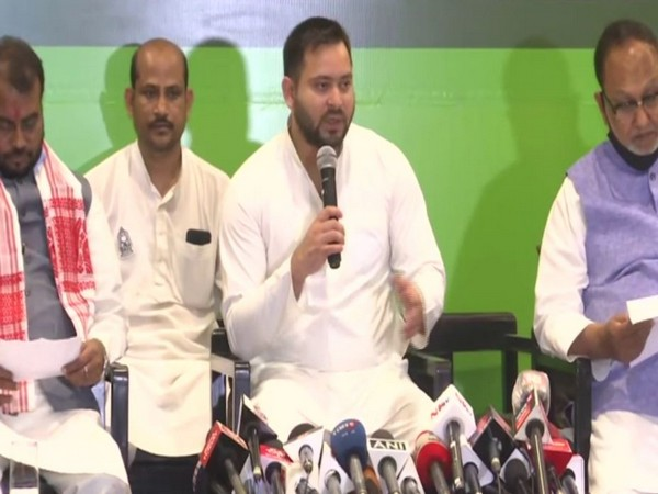 Former Deputy Chief Minister of Bihar and Rashtriya Janta Dal (RJD) leader Tejaswi Yadav addressing a press conference in Guwahati on Saturday.