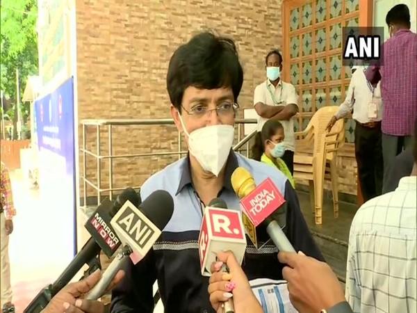 Tamil Nadu Health Secy J Radhakrishna speaking to the media in Chennai. (Photo/ANI)