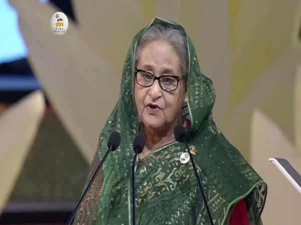 Bangladesh Prime Minister Sheikh Hasina speaking during the National Day programme on Friday