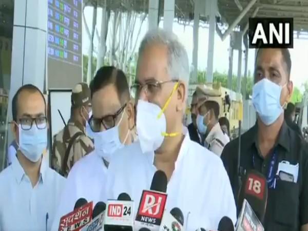 Chhattisgarh Chief Minister Bhupesh Baghel speaking to media (Photo/ANI)