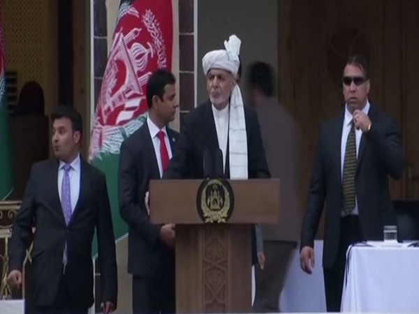 Afghan President Ashraf Ghani during the swearing-in ceremony in Kabul on Monday.