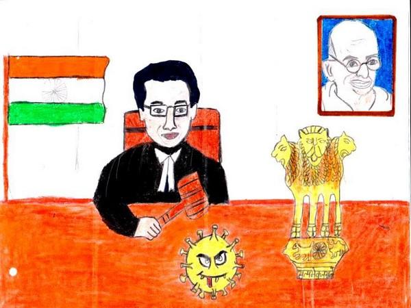 Visual of drawing by Kerala Class V student, Lidwina Joseph (Photo/ANI)