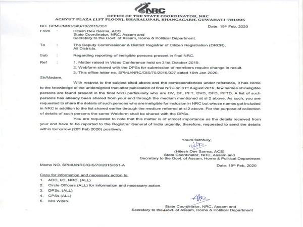 The letter by Assam NRC Coordinator Hitesh Dev Sarma