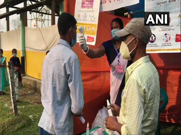 Visuals from polling booths in Assam (Photo/ ANI)