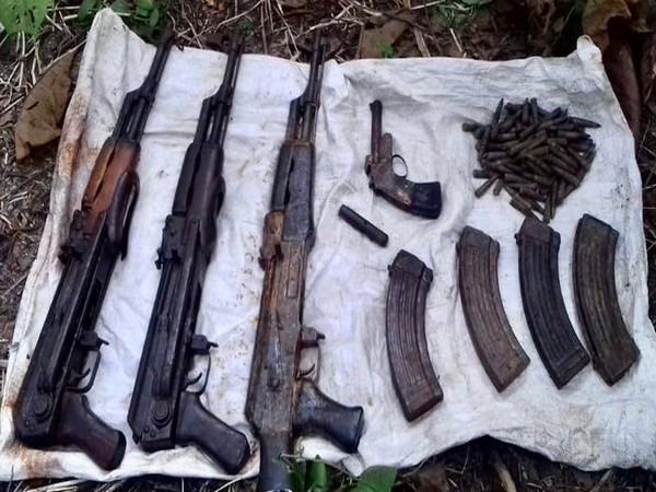 The arms and ammunition recovered in Kokrajhar, Assam on Sunday.