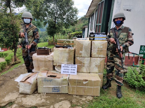 Assam Rifles recovers huge quantities of illegal air rifle scopes in Champhai district. (Photo/ANI)