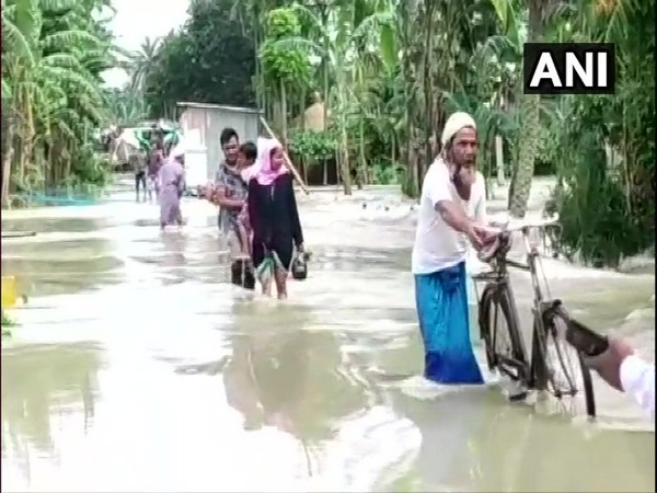 Water from Brahmaputra river enters Nagaon area in Morigaon district of Assam