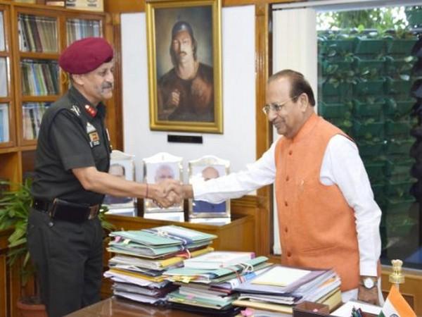 Major general Bipin Bakshi meeting Assam Governor Jagdish Mukhi on Thursday  Photo/ANI