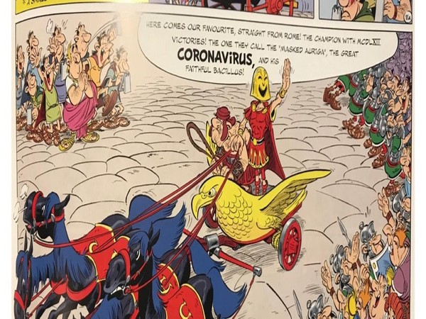 An illustration from the comic book series Asterix featuring a character named 'coronavirus' (Photo courtesy: Jaaved Jaaferi twitter)