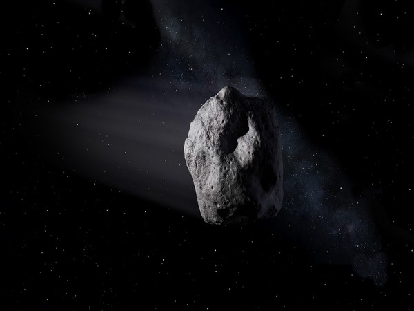 This illustration shows a near-Earth asteroid like asteroid 2020 SW traveling through space. (Image credit: NASA/JPL-Caltech)