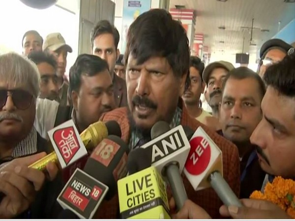 Union Minister Ramdas Athawale speaking to reporters in Patna on Saturday. Photo/ANI