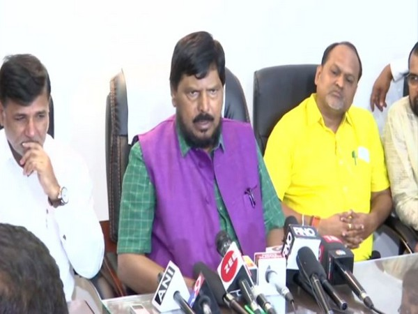 RPI chief Ramdas Athawale along with other NDA allies addressing a press conference in Mumbai on Thursday. Photo/ANI