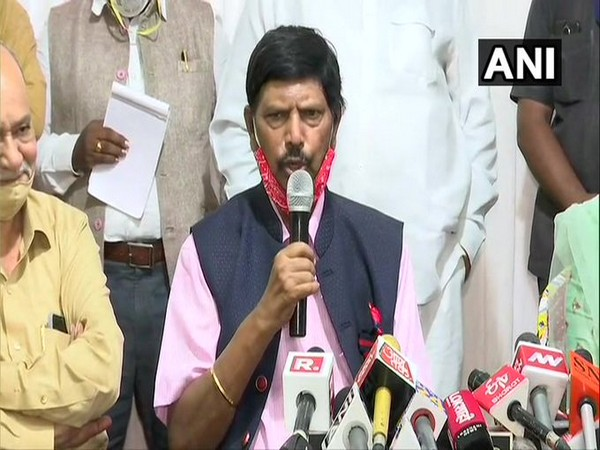 Union Minister Ramdas Athawale addressing a press conference in Mumbai on Monday.