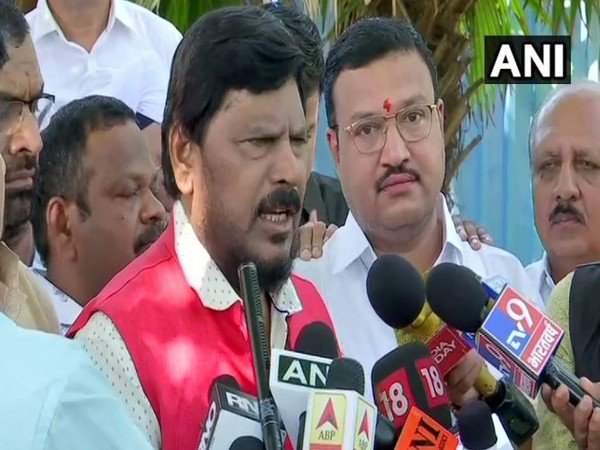 Union Minister Ramdas Athawale speaking to media persons in Mumbai on Saturday. Photo/ANI