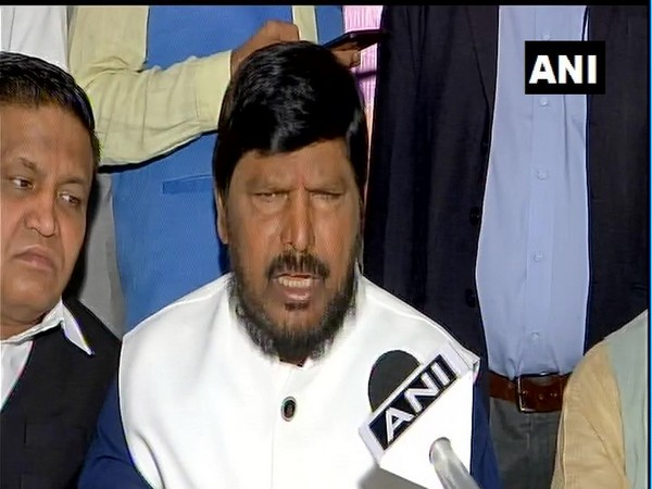 Union Minister Ramdas Athawale speaking to ANI in New Delhi on Thursday. Photo/ANI