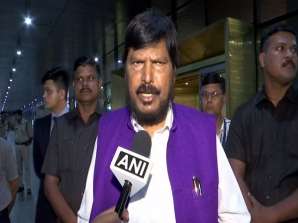 RPI leader Ramdas Athawale speaking to ANI in Mumbai on Saturday. Photo/ANI