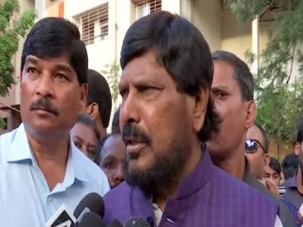 Union Minister Ramdas Athawale talking to reporters in Pune