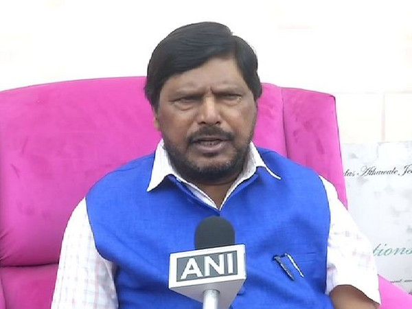 RPI chief  Ramdas Athawale talking to ANI in new Delhi on Friday. Photo/ANI