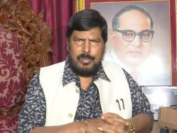 RPI chief and Union Minister Ramdas Athawale talking to ANI in Mumbai on Thursday.