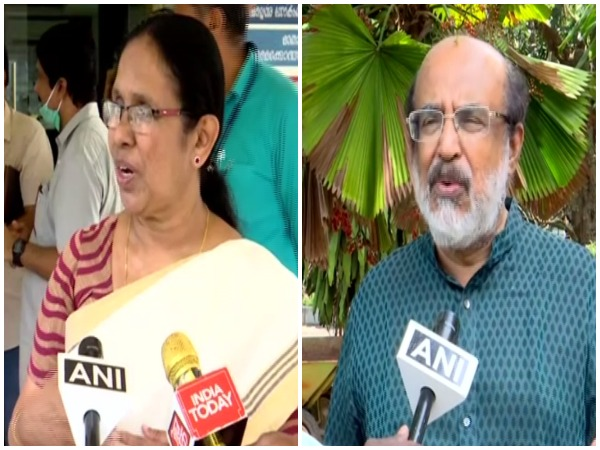 Kerala Health Minister KK Shailaja and Finance Minister Thomas Isaac speaking on PM Modi's decision to extend the lockdown period. Photo/ANI