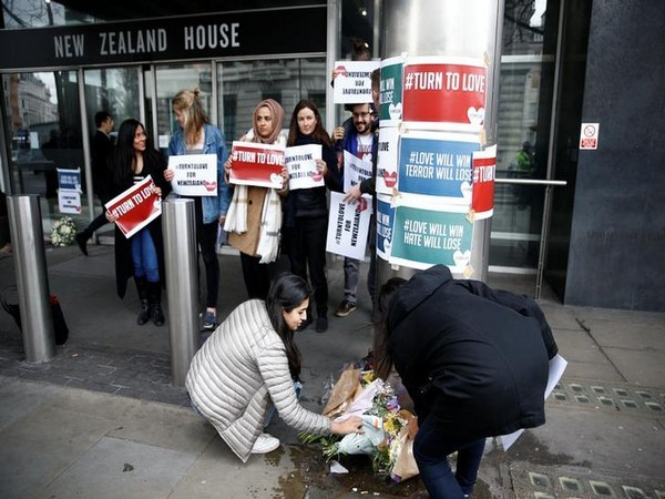 People laid flowers outside New Zealand House following the two mosque attacks in Christchurch last month.