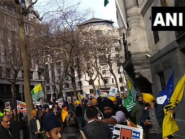 Pakistan-backed pro-Khalistan activists attacking innocent British-Indian civilians outside the Indian High Commission in London on March 9