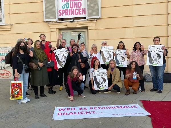 Austrians with many Afghan diaspora women at 'Platz der Menschenrechte', Vienna on Saturday.