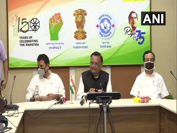 Rajasthan Congress in-charge Avinash Pande addressing a press conference alongwith party colleague Randeep Surjewala and Ajay Maken on Monday. (Photo/ANI)