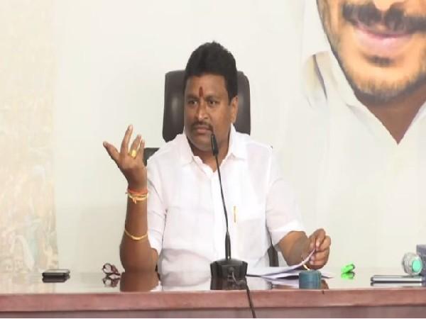 Andhra Pradesh Endowments Minister Velampalli Srinivasa Rao in Amaravati on Wednesday. (Photo/ANI)