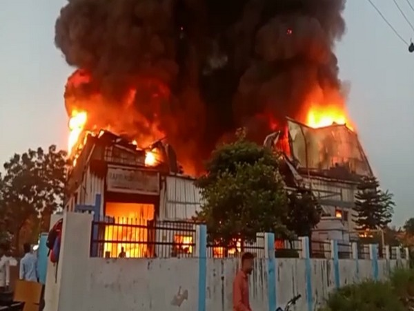 Visual of the factory engulfed in fire (Photo/ANI)