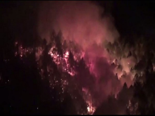 Visual of forest fire from New Tehri district Uttarakhand. (Photo/ANI)