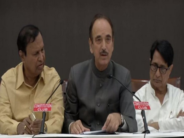 Congress leader Ghulam Nabi Azad addressing press conference in New Delhi on Monday