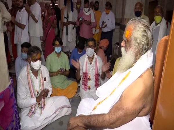 Union Minister Prahlad Singh Patel offered prayers at the Maniram Das Chavani temple in Ayodhya. (Photo/ANI)