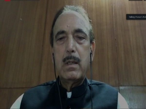 A grab from briefing of Congress leader Ghulam Nabi Azad via video conference.