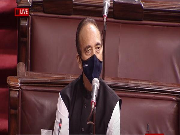Leader of Opposition in Rajya Sabha Ghulam Nabi Azad speaking in Rajya Sabha on Monday.