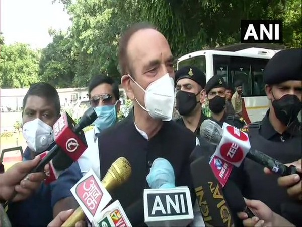 Congress leader Ghulam Nabi Azad speaking to media in New Delhi on Saturday.