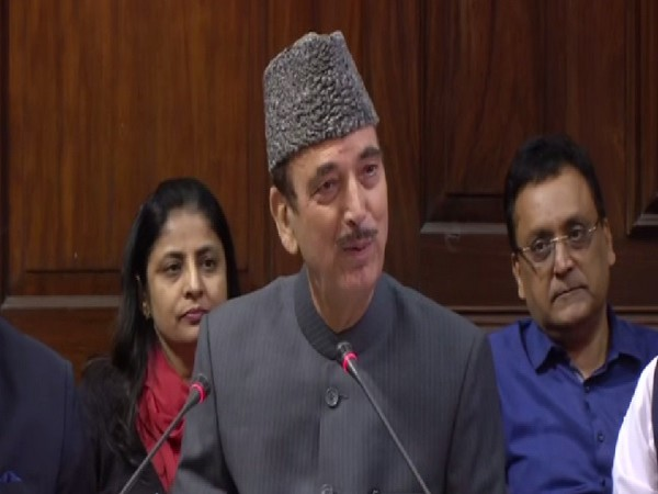 Congress leader Ghulam Nabi Azad speaking at a press conference in New Delhi on Wednesday.