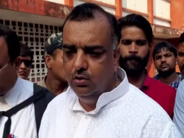 BJP leader and complainant Akash Saxena speaking to media persons outside Rampur District Court on Thursday. Photo/ANI