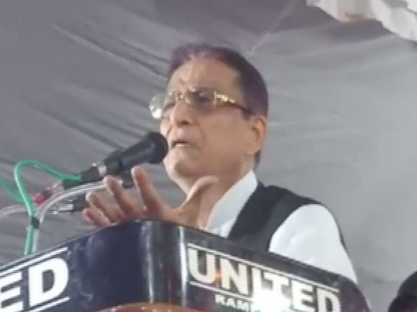 SP leader Azam Khan addressing a public rally in Rampur on Monday