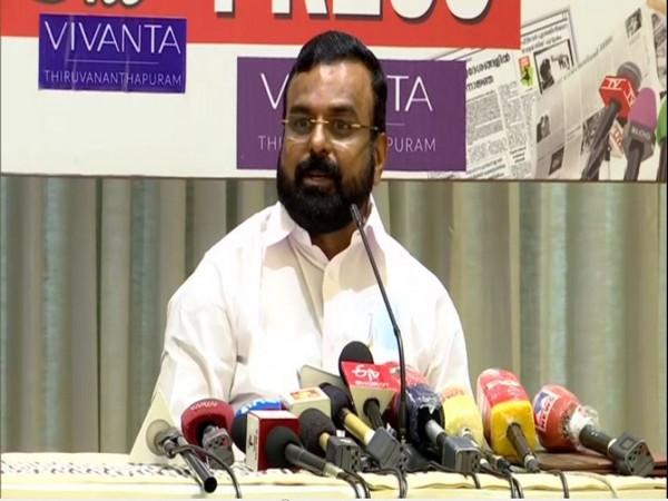 Kerala Congress leader KP Anil Kumar addressing the media on Tuesday (Photo/ANI)