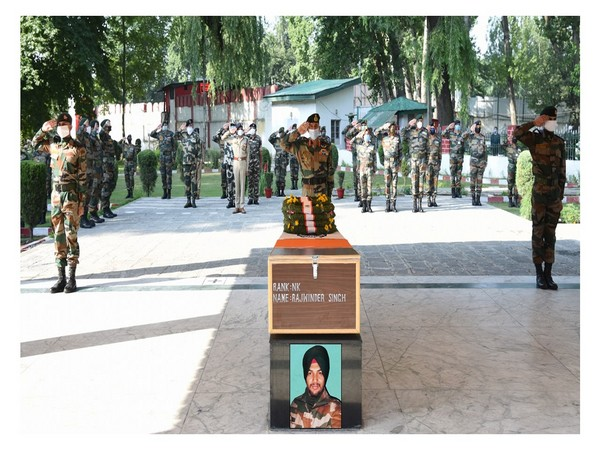 In a solemn ceremony at BB Cantt here, Lt General BS Raju, Chinar Corps Commander and all ranks paid homage to the braveheart on behalf of the proud nation. Photo/ANI