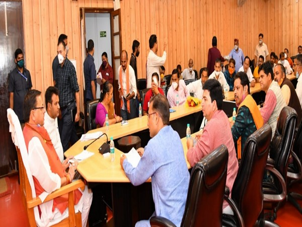 Uttarkhand CM Pushkar Singh Dhami meeting with the priests delegation in Dehradun on Tuesday.