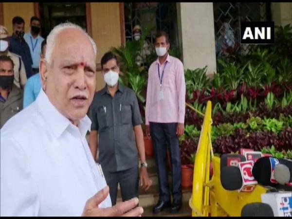 Karnataka Chief Minister BS Yediyurappa talking to media in Bengaluru on Tuesday. (Photo/ANI)