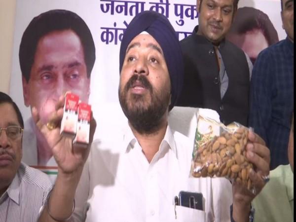 Congress workers sent almonds, eye drop and Patanjali Chyawanprash to Chouhan