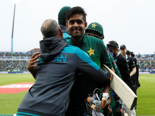Pakistan's Babar Azam celebrates after defeating New Zealand